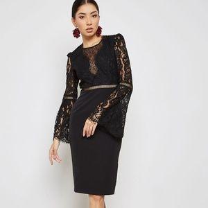 BARDOT Lace-Detail Bell-Sleeve Black Dress